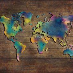 World Map wood
