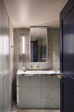 Kitchen Benchtops, Stone Supplier, Marble Wall, Fritz Hansen, Minimalist Home, Decor Interior Design, Double Vanity, Master Bathroom, Interior Architecture