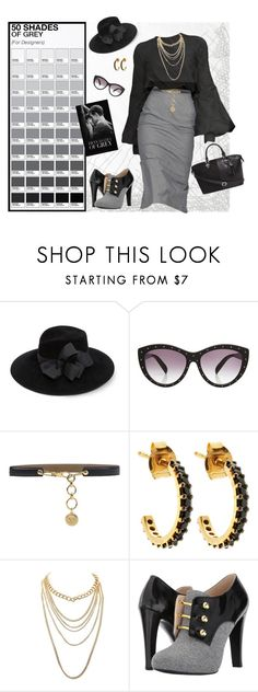 """""""Fifty Shades of Grey"""" by dkelley-0711 ❤ liked on Polyvore featuring Eric Javits, Alexander McQueen, Les Copains, Lola Rose, Charlotte Russe, Nine West, AlexanderMcQueen, ninewest, CharlotteRusse and lescopains"""