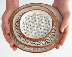 Set of Three Handmade Tapas Plates - Ceramic Plate Set - Geometric Plates - Pottery Plates - Ceramics and Pottery - MADE TO ORDER