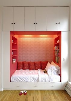 A recessed bed gives more floor space plus storage and is the epitome of cosy . . . great colour choice for a teenager girl.