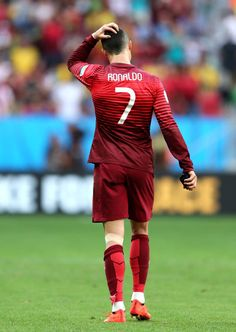 Cristiano Ronaldo of Portugal reacts after the 2014 FIFA World Cup Brazil Group G match between Portugal and Ghana at Estadio Nacional on Ju...