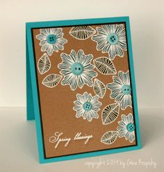 handmade card: White Embossed Shabby Spring Card - stampTV ... luv the Southwestern colors and look of this card ... kraft with white embossed line art and turquoise buttons, ink and base card ... great card!!