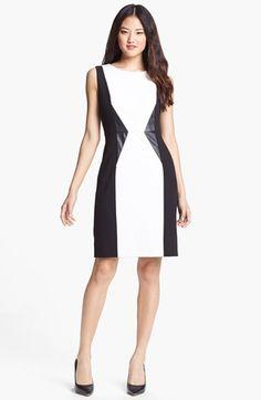 Calvin Klein Faux Leather Trim Colorblock Sheath Dress (Regular & Petite) available at #Nordstrom