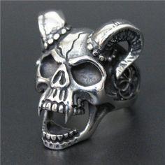 Size 8-13 Evil Damn Skull Vampire Goat Ring 316L Stainless Steel Man Boy Band Party Bull Skull Ring