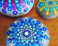 Painted Stone  Colorful Dot Art  Purple Red Mandala  Rock