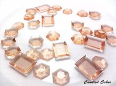 **FEATURED IN DEC 2012 BRIDES MAGAZINE**  These beautiful 100% edible sugar jewels are perfect for decorating cakes, cookies,   & cupcakes or as a hard candy treat.  They are delicious and a great addition to your baked items.  Hexagon jewels measure 3/4 of an inch & rectangle jewel measu...
