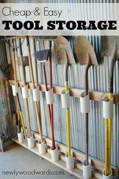Great garden tool storage diy!
