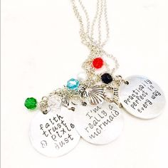 3 for $40 hand stamped pretty meaningful necklaces Buy the bundle!! We are in love with these new necklaces with amazing sayings. Buy the bundle and save $60.00 : practically perfect in every way : I'm really a mermaid : faith, trust and pixie dust- Jewelry Necklaces