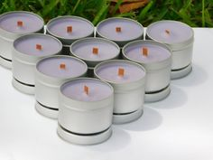 12 Candles | 4 oz. |  Bulk Personalized Soy Candles | Handmade All Natural Aromatherapy Tin Candle Bulk Candles, Mason Jar Candles, Tin Candles, Scented Candles, Expensive Candles, Handmade Candles, Custom Candles, Blue Cotton Candy, Pineapple Sage