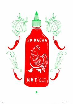 A her Condiments print was so popular, Aleesha Nandhra has produced Sriracha Time available from our Print Club London and only £50