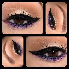 Neutral with purple eyeshadow and Cat Eye Liner...