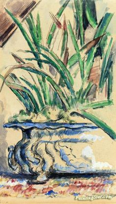 Blue Flowerpot Artwork by Paul Cezanne Hand-painted and Art Prints on canvas for sale,you can custom the size and frame