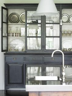 Glass Front Cabinets - Design photos, ideas and inspiration. Amazing gallery of interior design and decorating ideas of Glass Front Cabinets in closets, kitchens, entrances/foyers by elite interior designers. China Cabinets And Hutches, Painted China Cabinets, Black Cabinets, Painted Hutch, Painted Furniture, Grey Cupboards, Modern Cabinets, Upper Cabinets, Rustic Kitchen