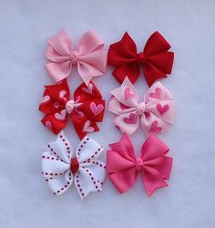 Set of 6 MINI pinwheel Hair bows, Valentine's Day Hair Bows, Tiny Pinwheel Hair Bows ( Perfect for a newborn, baby, or piggy tails by LizzyBugsBowtique on Etsy Ribbon Hair Bows, Diy Hair Bows, Diy Bow, How To Make Hair, How To Make Bows, Baby Girl Hair Accessories, Hair Bow Tutorial, Handmade Hair Bows, Hair Decorations