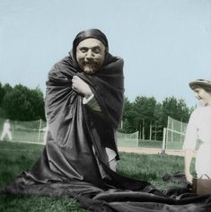 Tsar Nicholas II clowning around with his daughters during tennis. Love it!