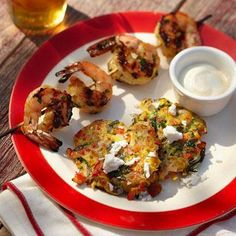 Orange-ginger marinated shrimp are served alongside crispy zucchini fritters with a yogurt-based dipping sauce in this simple main dish recipe. Heart Healthy Recipes, Diabetic Recipes, Diabetic Foods, Healthy Choices, Keto Recipes, Cooking Recipes, Grilling Recipes, Seafood Recipes, Healthy Grilling