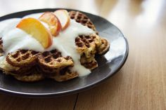mypancakestory.: Honey coconut waffles with vanilla glaze