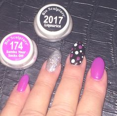 Using Bio Sculpture Gel colour 174 Samba your socks off and 2017 Licorice and a splash of sparkle
