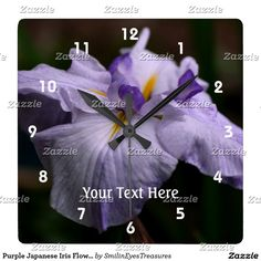 Purple Japanese Iris Flower Square Wall Clock.  From Smilin' Eyes Treasures at Zazzle.