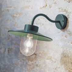 Traditional Swan Neck Outdoor Wall Light  Green, Charcoal or Galvanised