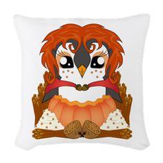 Spiced Pumpguin Woven Throw Pillow #Penguin #Thanksgiving #Kawaii #PumpkinSpice #Cute #Spice  #Autumn #Fall #CafePress