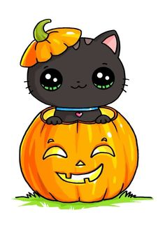 Cat in pumpkin - anime kawaii Kawaii Halloween, Chat Halloween, Halloween Drawings, Halloween Pictures, Halloween Pumpkins, Cute Little Drawings, Cute Kawaii Drawings, Cute Animal Drawings, Kawaii Cute