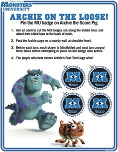 MONSTERS UNIVERSITY – New Printable Activity Sheets Available | Lady and the Blog