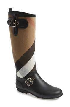 Free shipping and returns on Burberry 'Birkback' Rain Boot (Women) (Wide Calf) at Nordstrom.com. Exploded checks lend signature élan to a stylish rain boot detailed with shining square buckles.