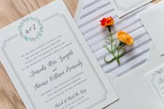 Letterpress wedding invitation by Engaging Papers