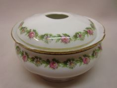 RS Prussia Antique Hair Receiver Flowered Porcelain
