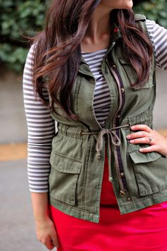 army vest, striped shirt, pink skirt...I ACTUALLY  HAVE THAT VEST!!! Super excited