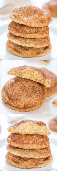 """The Best Snickerdoodles - Soft, pillowy puffs that are so irresistible! The closest recipe to Mrs. Fields snickerdoodles that you'll find!"" I just loooove snicker doodles must try this recipe 😊 Yummy Cookies, Yummy Treats, Sweet Treats, Yummy Food, Delicious Recipes, Baking Recipes, Cookie Recipes, Dessert Recipes, Baking Ideas"
