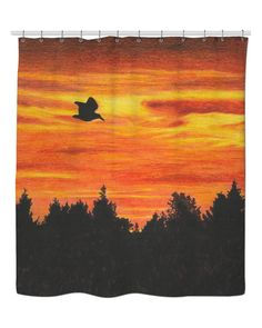 Sunset with bird Shower Curtain by @savousepate on RageOn! #fallcolors #autumncolors #orange #black