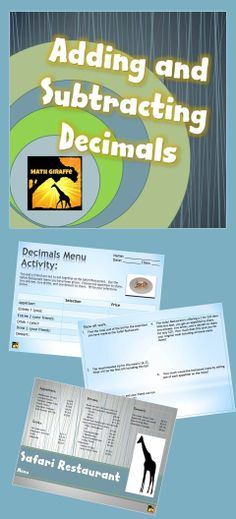 FREEBIE - activity in which students use a menu to create meals and add and subtract prices to practice decimals