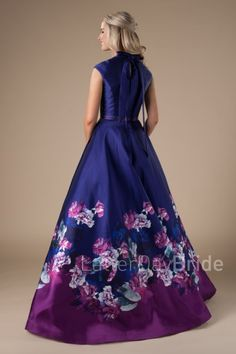 modest prom dresses with floral print, the Saylor at Latter Day Bride