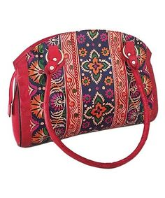 Another great find on  zulily! Red Hand-Painted Leather Kaleidoscope Dome  Satchel  . HátitáskaVászontáska 3d9614aa63