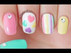 YouTube - Valentine's Day Nail Tutorial: Pastel Hearts // elleandish