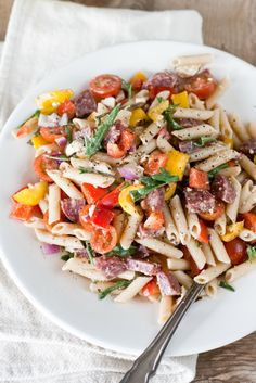 Crazy easy, yet delicious pasta salad from my friend Jeanne
