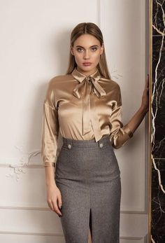 Sexy Blouse, Blouse And Skirt, Blouse Outfit, Bow Blouse, Classy Outfits, Beautiful Outfits, Satin Blouses, Classy Women, Skirt Outfits