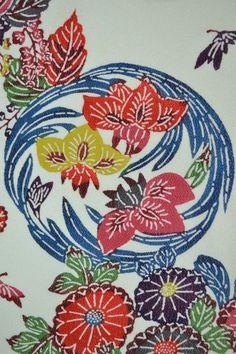 VINTAGE SILK WEDDING FABRIC:Bingata Chrysanthemum/Iris/Plum Blossom@871