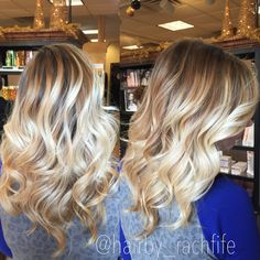 Root shadow stretched root bright blonde balayage highlights. Hair by Rachel Fife @ SF Salon