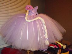 Tangled inspired tutu dress...complete with yarn braid hair clip...:)