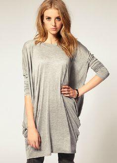 Grey Batwing Long Sleeve Loose T-Shirt - Sheinside.com