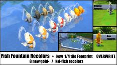 Fish Fountain Recolor + Changed Footprint by Bakie at Mod The Sims via Sims 4 Updates