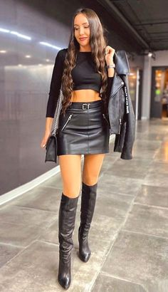 Black Leather Skirts, Leather Boots, Leather Trousers, Short Skirts, Mini Skirts, Mini Dresses, Black Boots, High Boots, High Heels