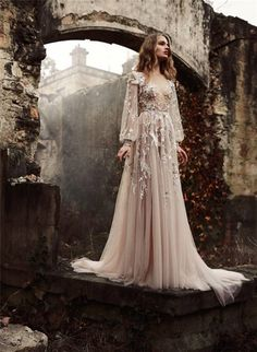 Paolo Sebastian Champagne Wedding Dress 2016