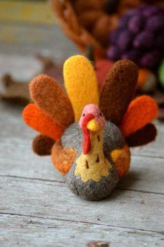 Needle felted turkey by Teresa Perleberg