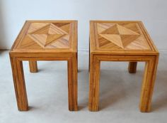 Pair of custom made Mid Century Modern cut reed Parsons style side tables, USA c. 1960s - 1970s.