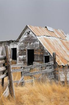 Shabby, Rusted, An Adorable Old Barn - love the print of the horse over the door